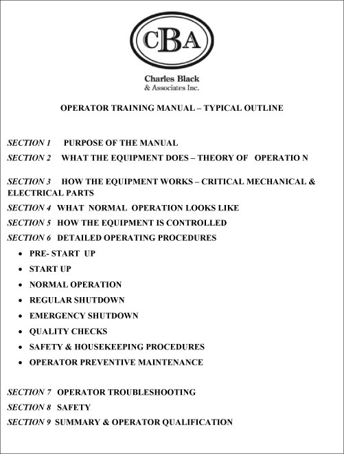 Operator Training Manuals  Charles Black  Associates Inc  Train